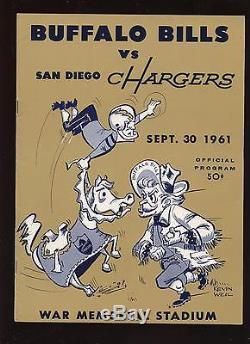 1961 AFL Program San Diego Charger @ Buffalo Bills EXMT