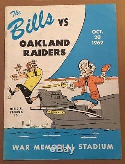1962 Afl NFL Oakland Raiders @ Buffalo Bills Football Program Ex+ October 20