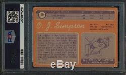 1970 Topps #90 O. J. Simpson HOF RC Autographed PSA/DNA Inscription HOF 85 56174