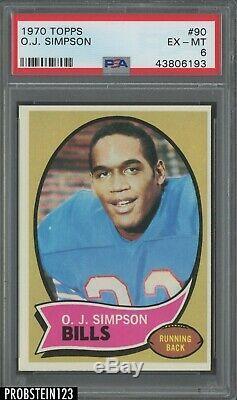 1970 Topps Football #90 O. J. Simpson Buffalo Bills RC Rookie HOF PSA 6 EX-MT