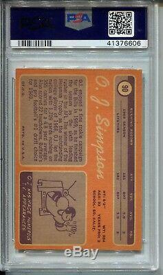 1970 Topps Football #90 O. J. Simpson Rookie Card RC PSA 8