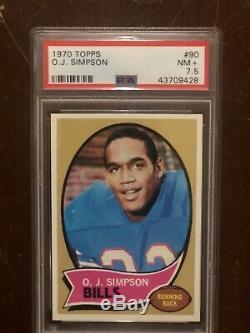 1970 Topps Football #90 (RC) O. J. Simpson Buffalo Bills RC Rookie HOF PSA 7.5