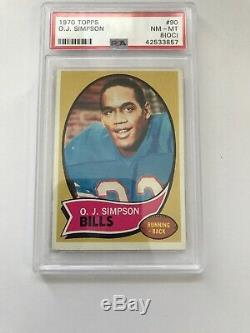 1970 Topps O J Simpson Buffalo Bills RC #90 PSA 8