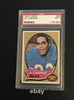 1970 Topps Oj Simpson Rookie #90-psa 7-nm-nice Eye Appeal Great Centering