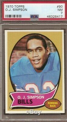 1970 Topps football # 90 O. J. Simpson PSA 7 ROOKIE