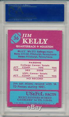 1984 Topps USFL JIM KELLY #36 PSA 9 MINT NFL HOF RC Registry Set Break