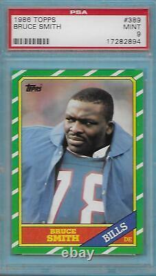 1986 Topps Football #389 Bruce Smith Rookie PSA 9 MINT Buffalo Bills HOF