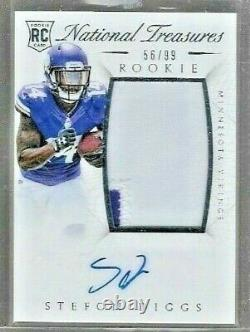 2015 National Treasures Stefon Diggs 2 Color Patch Auto Rc Serial # to 99 BILLS