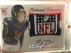 2015 Stefon Diggs National Treasures NFL Shield Rookie Patch Auto Rc 1/1