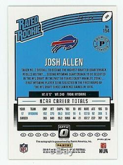 2018 Donruss Optic Preview Josh Allen Auto RC #24/24 SP Rookie Autograph Bills