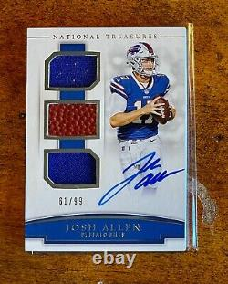 2018 Josh Allen National Treasures NFL Rookie Signatures /99 On Card Auto RC