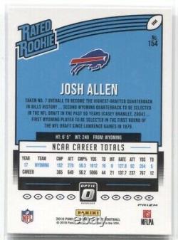 2018 Josh Allen Panini Donruss Optic RATED ROOKIE RED YELLOW PRIZM Rc #154 Bills