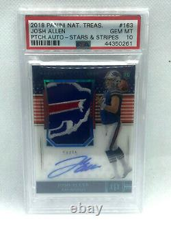 2018 National Treasures JOSH ALLEN ROOKIE PATCH AUTO STARS AND STRIPES PSA 10