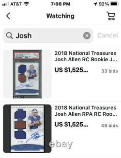 2018 National Treasures Josh Allen RC Rookie Jersey Ball AUTO #20/99 BGS 9 MINT