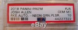 2018 PRIZM Josh Allen Autographs Rookie Neon Green Pulsar Prizm #RA-JA PSA 10 Rc