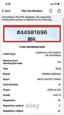2018 Panini KABOOM! Josh Allen Rookie Card RC PSA 9 MINT Bills Low Pop