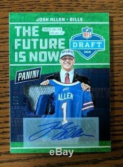 2018 Panini National Josh Allen Rookie NFL Draft Patch Auto Buffalo Bills SP 5/5