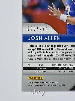 2018 Panini Prizm Josh Allen Rookie Hyper PRIZM SP /275 Buffalo Bills RC RARE