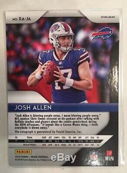 2018 Panini Prizm Josh Allen Silver Prizm Rookie Auto Clean RC Buffalo Bills