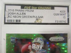 2018 Prizm Josh Allen Rookie Neon Green Pulsar Rookie Buffalo Bills Gem Mint 10