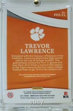 2021 Immaculate Trevor Lawrence Jumbo 3 Color Patch Auto Rpa #'d 54/99