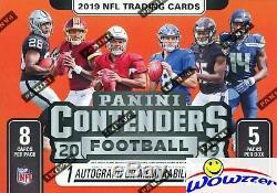 (5) 2019 Panini Contenders Football Factory Sealed Blaster Box-5 AUTOGRAPH/MEM