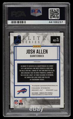 /50 RC Josh Allen 2018 Optic Elite ROOKIE AUTO Purple Stars Prizm = PSA 10 snub