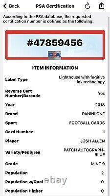/99 POP 2 RC Josh Allen 2018 Panini One Rookie Patch Auto RPA BLUE #1 No PSA 10s