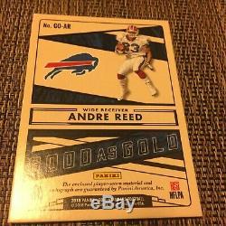 Andre Reed 2018 Panini Gold Stanard Auto Logo Patch 1/1 Buffalo Bills