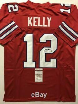 Autographed/Signed JIM KELLY Buffalo Red Football Jersey JSA COA Auto