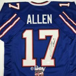Autographed/Signed JOSH ALLEN Buffalo Blue Football Jersey JSA COA Auto