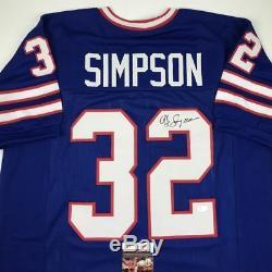 Autographed/Signed OJ O. J. SIMPSON Buffalo Blue Football Jersey JSA COA Auto