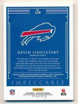 Devin Singletary 2019 Panini Impeccable Rc Autograph Helmet Logo Patch Auto #/10