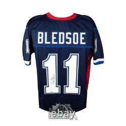 Drew Bledsoe Autographed Buffalo Bills Custom Football Jersey BAS COA