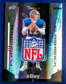 GAME WORN/USED 1/1 Leaf Jim Kelly NFL Shield Logo Buffalo Bills