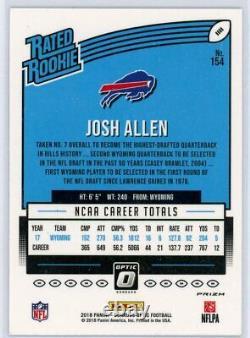 JOSH ALLEN 2018 Panini Donruss Optic Red Yellow Rated Rookie Card RC Bills #154