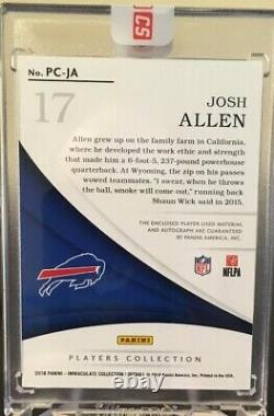 Josh Allen 2018 Immaculate Players Collection RC Auto Patch Glove Ball /25 Bills