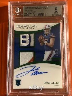 Josh Allen 2018 Immaculate Rookie Emerald RPA 11/12 FOTL BGS 9/10 Buffalo Bills