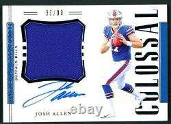 Josh Allen 2018 Panini National Treasures Colossal Rookie Patch Auto 33/99 RC