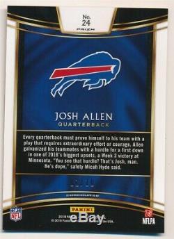 Josh Allen 2018 Panini Select Rc Rookie Gold Prizms Buffalo Bills Sp #01/10