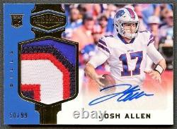 Josh Allen 2018 Plates & Patches Gold 4-color Patch Auto Autograph Rookie Rc /99