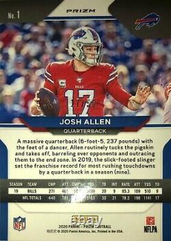 Josh Allen 2020 Panini Prizm No Huddle Red Prizm 17/50 Jersey Number SP