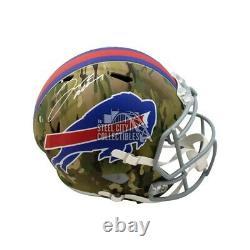 Josh Allen Autographed Buffalo Bills Camo Replica Full-Size Football Helmet BAS