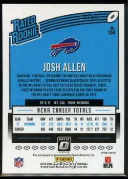 Josh Allen Rated Rookie Auto /50 Purple Stars Panini Select 2018 FOTL Bills RC