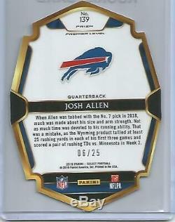 Josh Allen Rc 2018 Prizm Select Tye Dye Refractor /25 Ssp Rookie Card #139 Bills