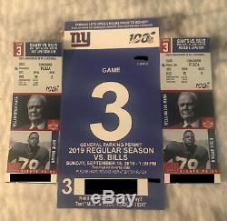 NY Giants vs Buffalo Bills 9/15/19 1PM MetLife Stadium 2 Tix + Parking Pass
