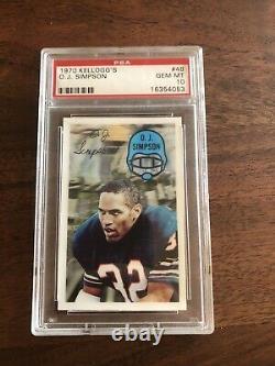 O. J. Simpson 1970 Kelloggs #48 Rookie Card Football HOF PSA 10 gem mint