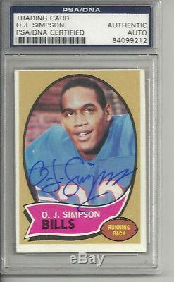 O. J. Simpson Oj Auto Signed 1970 Topps Rookie Card #90 Buffalo Bills! Psa/dna