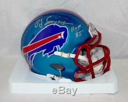 O. J. Simpson Signed Buffalo Bills BLAZE Mini Helmet with HOF- JSA W Auth Silver