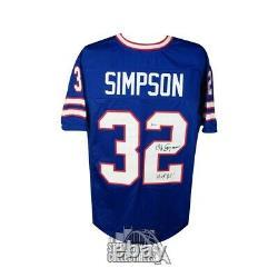 OJ Simpson HOF 85 Autographed Buffalo Bills Custom Football Jersey BAS COA
